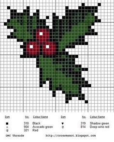 Holly pattern for cross-stitch or tapestry crochet. Free chart from Cross Me Not. Xmas Cross Stitch, Cross Stitch Cards, Cross Stitching, Cross Stitch Embroidery, Embroidery Patterns, Cross Stitch Christmas Cards, Hand Embroidery, Christmas Embroidery, Le Point