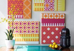 Sooooooo fun! And they show how to do it: DIY Colorful Moroccan Canvas Art | Paint + Pattern