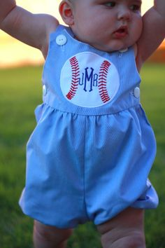 Adorable! omg! cute dressy little seersucker/smocked type outfit +monogram+ baseball=3 things i adore! Yes please!! If i ever have a boy he's so rocking this!