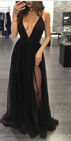 Sexy Black Prom Dresses,Deep V Neck Front Slit Evening Prom Dress,Spaghetti Straps Long Prom Gowns Party Dresses,Simple Evening Gowns
