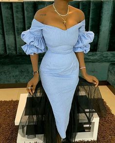 Off Shoulder Striped Lantern Sleeve Bodycon Dress buying fashion dresses & rapid delivery. Start your amazing deals with big discounts! Classy Dress, Classy Outfits, Chic Outfits, Dress Outfits, Fashion Outfits, Casual Dresses, Dresses Dresses, Short Dresses, Wrap Dresses