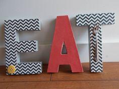"Retro inspired chevron print fun kitchen decor, ""EAT"" in letters Chevron Kitchen, Friend Crafts, Kitchen Decor, Kitchen Stuff, Kitchen Ideas, 3d Letters, Letter Patterns, Craft Day, Vintage Decor"