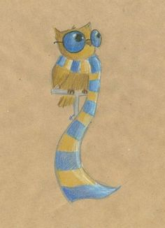 Harry Potter / Owl - Ravenclaw (by nerdy birdy(alexis) Fanart Harry Potter, Harry Potter Owl, Harry Potter Drawings, Harry Potter Universal, Harry Potter Fandom, Ravenclaw, Mischief Managed, Crests, Houses