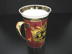 Set of 2 Magnificent Fine Porcelain Coffee Mug Greek Medusa Gold Plated Red New | eBay
