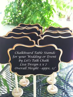 """Getting married? Check out these Elegant Large 5 x 7 Wedding Chalkboard Table Stands 12"""" tall by LetsTalkChalk! Just $8.50 each!"""