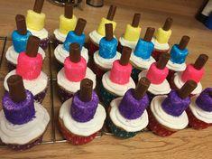PINK Nail polish bottle cupcakes, 8 year old girl birthday party Girl Birthday Cupcakes, Girl Birthday Themes, Kids Party Themes, Birthday Ideas, Party Ideas, Theme Parties, 9 Year Old Girl Birthday, Bday Girl, 10th Birthday