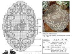 Home Decor Crochet Patterns Part 109 - Beautiful Crochet Patterns and Knitting Patterns Easter Crochet Patterns, Lace Patterns, Knitting Patterns, Filet Crochet Charts, Cross Stitch Charts, Cross Stitch Patterns, Cross Stitch Silhouette, Knit Crochet, Crochet Hats