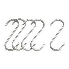 """IKEA - GRUNDTAL, S-hook, 2 3/4 """", , Use the hooks to store your kitchenware on the wall and fit more into your cabinets and drawers.Can be used in high humidity areas."""