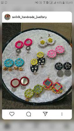 Diy Fabric Jewellery, Fabric Earrings, Thread Jewellery, Funky Jewelry, Diy Earrings, Jewelry Crafts, Terracotta Jewellery Designs, Hand Printed Fabric, Handmade Jewelry Designs