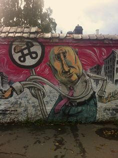 """severdighetskilt""-mannen i Herslebsgate. Oslo, Graffiti, Street Art, Painting, Nature, Painting Art, Paintings, Drawings"