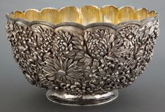 A CHINESE EXPORT SILVER AND SILVER GILT PUNCH BOWL . Maker unknown,China, circa 1880. Spurious marks: TIFFANY & Co.
