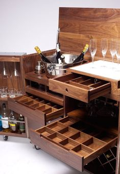 Mobile Bar and Wine Cabinet in Walnut and Stainless Steel by Naihan Li 8