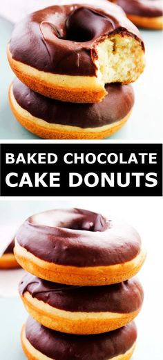 Baked Donut Recipes, Baked Doughnuts, Baking Recipes, Cake Recipes, Dessert Recipes, Easy Desserts, Delicious Desserts, Yummy Food, Cupcakes