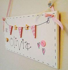 Personalised Wooden Bunting Name Sign  Plaque Door Hanging Children's Gift Pink