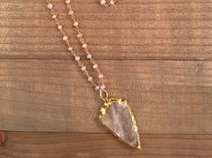 Crystal Arrowhead and Moonstone Necklace by ElidaCreations on Etsy