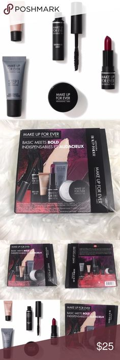 "Make Up For Ever Sephora Point Basic Meets Bold + 500 Sephora points = $500 spent in order to purchase this + Brand new 500 point reward from Sephora / Make Up For Ever called ""Basic Meets Bold"" + This reward includes: - 0.16 oz/ 5 mL Make Up For Ever Step 1 Skin Equalizer Primer - 0.035 oz/ 1 g Make Up For Ever Ultra HD Loose Powder - 0.04 oz/ 1.3 mL Make Up For Ever Aqua XL Colour Paint in I-50 - 0.08 oz/ 2.5 mL Make Up For Ever Excessive Lash Arresting Volume Mascara - 0.04 oz/ 1.4 g Make…"