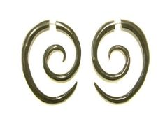 Oblong Spiral Faux Gauge Earrings Black Horn Fake Tapers Hand Carved, Women's