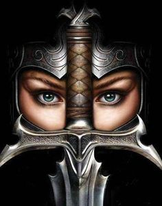 f Fighter Plate Armor Helm Sword portrait princess warrior Fantasy Warrior, 3d Fantasy, Woman Warrior, Warrior Queen, Raven Queen, Fantasy Women, Warrior Princess, Escudo Viking, Samurai Girl
