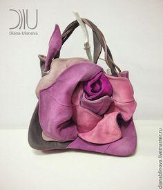 Купить Роза бутон - розовый, однотонный, черная сумка, авторская сумка, необычная сумка