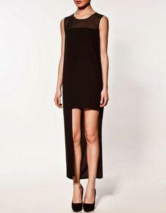 Asymmetrical Hem Sheer Black Dress