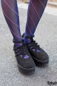 Suede Tokyo Bopper shoes in Harajuku Striped Stockings 68770ee6b957f