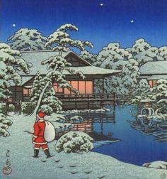 川瀬巴水「雪庭のサンタクロース」(1950) SANTA CLAUS AT SNOW GARDEN KAWASE HASUI 1883-1957