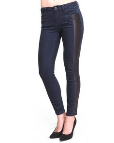 Find Coated Denim Vegan Leather Trim Moto Skinny Jean Women's Bottoms from KENSIE & more at DrJays. on Drjays.com