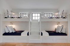 The Chic Technique: Bunk Room. White bunk bed with navy bedding. bunk room features two sets of white built-in bunk beds dressed in navy bedding lined with distressed shiplap flanked by a built-in staircase. Old Seagrove Homes. Bunk Bed Rooms, Bunk Beds Built In, Bedrooms, Twin Beds, Bunk Bed Wall, Double Bunk Beds, Wall Beds, Fun Bunk Beds, Full Size Bunk Beds