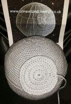 5 Jan 2015 365 creative challenge day 5. The crochet death star cushion is almost done. Pattern can be found here http://makezine.com/craft/crocheted-death-star-pillow-pattern/ www.unravelandunwind.co.uk #handmade #crafts #crochetproject #crochet #yarn #starwars #deathstar