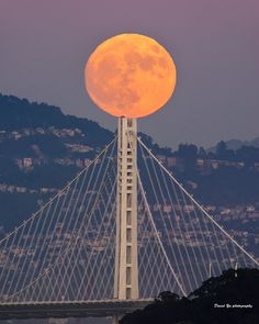 Super Moon Over the Bay Bridge by David Yu