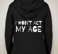 "one direction ""i won't act my age"" zip-up hoodie sweatshirt"