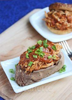 Pulled Chicken Stuffed Sweet Potato © Jeanette's Healthy Living