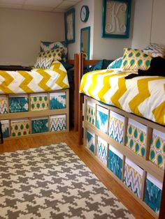 lofted dorm beds, college dorm room storage, bed room storage underneath, college under bed storage, dorm rooms, college loft beds, dorm room loft bed, fabric covered boxes, college bed storage