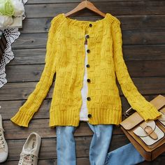 Autumn new arrival women vintage cardigan outerwear knitted sweater loose solid color shirt free shipping 3 colors-inSweaters from Apparel &...