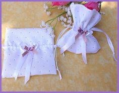 Pochette tissu blanc points brillants : Accessoires pour bijoux par orkan28