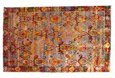"""One Kings Lane - Exotic Elegance - 6'3""""x10'2"""" Sari Silk Rug, Orange/Multi"""