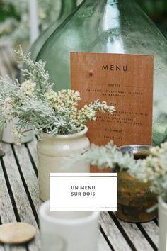 La mariee aux pieds nus - Do it Yourself - Imprimer un menu de mariage sur du bois