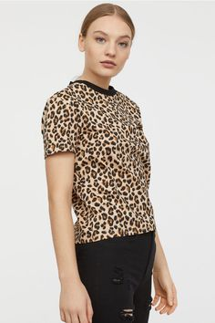 9b8f098cc241 Cotton T-shirt - Light beige/Leopard print - Ladies | H&M ...
