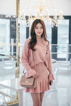 Embroidered knit sweater and skirt set chlo. Korean Fashion Fall, Winter Fashion Casual, Korean Fashion Trends, Cute Fashion, Asian Fashion, Skirt Fashion, Fashion Dresses, Retro Fashion, Mens Fashion