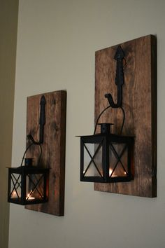 sconces with picture Rustic Wall Decor Farmhouse Wall Sconces, Rustic Wall Sconces, Rustic Wall Decor, Rustic Walls, Rustic Farmhouse Decor, Modern Farmhouse, Modern Rustic, Rustic Wall Lighting, Wood Sconce