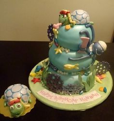 Baby Einstein With Smash Cake For Child Turtle On Top Is A Keepsake