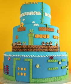 スーパーマリオブラザーズのタワー型ケーキ
