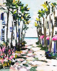 "Abstract Beach Print on Paper or Canvas, Miami Series, ""Palms"" Gil Elvgren, Positano, South Carolina, Original Paintings, Original Art, California Cool, Tropical Art, Modern Tropical, Beach Print"