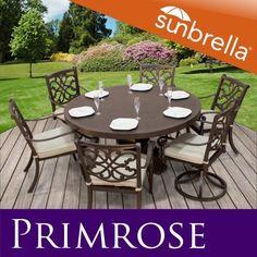 Primrose Outdoor Cast Aluminum Dining Patio Set W/ Sunbrella Covers Patio Furniture Sets, Fine Furniture, Furniture Design, Furniture Ideas, Backyard, Outdoor Decor, Foam Cushions, Patio Ideas, Decks