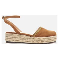 Castaner Women's Elena Espadrille Sandals - Cuero (1.650 ARS) ❤ liked on Polyvore featuring shoes, sandals, tan, embroidered sandals, closed toe flat sandals, espadrille sandals, closed toe espadrilles and braided sandals