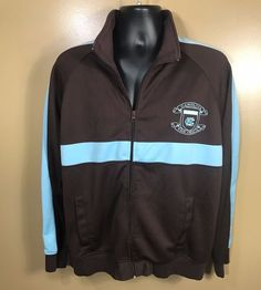 NCAA North Carolina Tarheels Champs Full Zip Brown and Blue Jacket Sz L #Champs #NorthCarolinaTarHeels