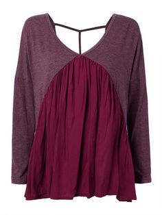 Ruffles Casual Purple Patchwork Backless V Neck Women Loose T-Shirt