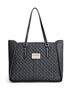 GUESS Women's Pompano Quilted Denim Tote Handbag