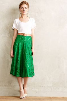 Not sure if I can pull off a midi skirt because I'm short, but I like the look of this. :) Grass-Lace Midi Skirt #anthropologie
