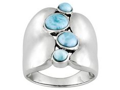 Brand New Genuine Natural Larimar Cabochon Faceted Gemstones Set Into Satin Finished Sterling Silver. Reminds me of a pretty blue sky. Sterling Silver Jewelry, Gold Jewelry, Jewelry Rings, 925 Silver, Country Rings, Turquoise Bracelet, Gemstone Rings, Gemstones, Nyc